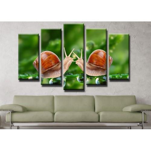 Декоративни панели и картини от канава Модел 13 432 охлюви  пет части