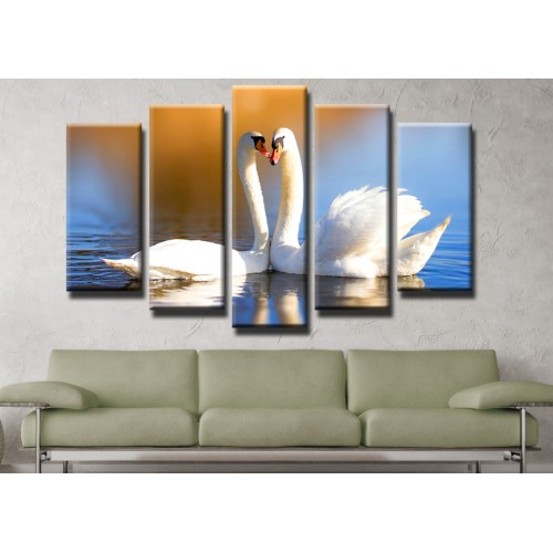 Декоративни панели и картини от канава Модел 13 433 лебеди  пет части