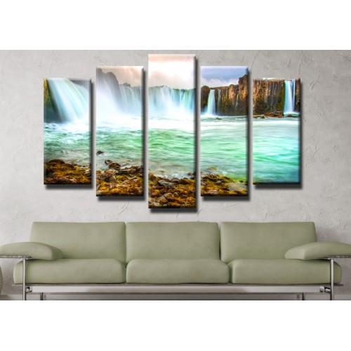 Декоративни панели и картини от канава Модел 13 436 водопад  пет части