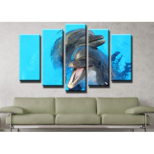 Декоративни панели и картини от канава Модел 13 438 делфини  пет части