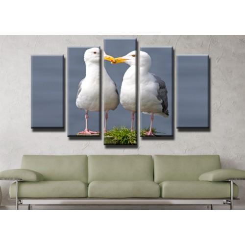 Декоративни панели и картини от канава Модел 13 439 гларуси  пет части