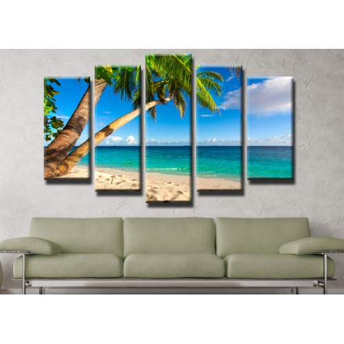 Декоративни панели и картини от канава Модел 13 440 палми плаж море  пет части