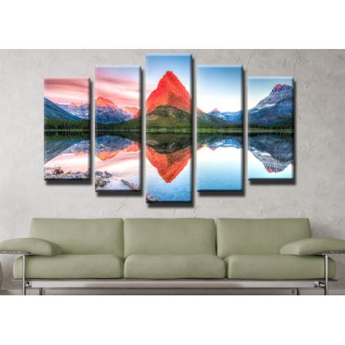 Декоративни панели и картини от канава Модел 13 442 езеро отражение връх пет части