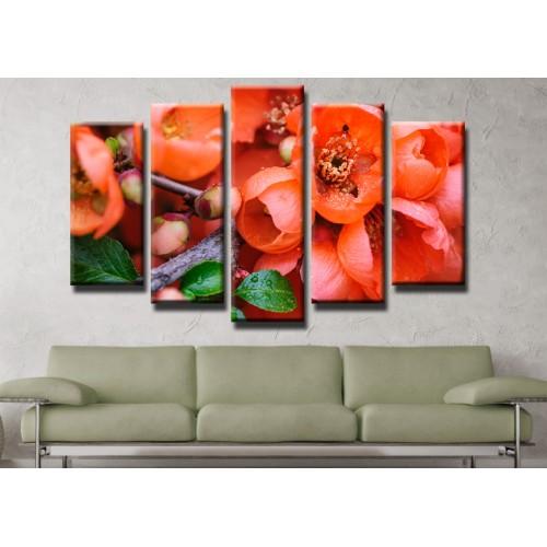 Декоративни панели и картини от канава Модел 13 444 цвят пролет пет части