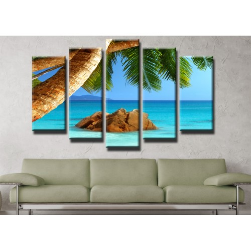 Декоративни панели и картини от канава Модел 13 445 палми плаж море остров пет части
