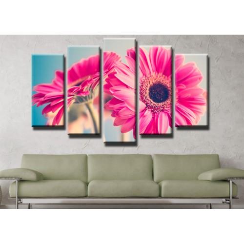 Декоративни панели и картини от канава Модел 13 447 хризантеми пет части