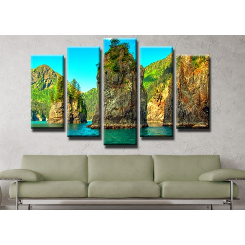 Декоративни панели и картини от канава Модел 13 448 планинско езеро  пет части