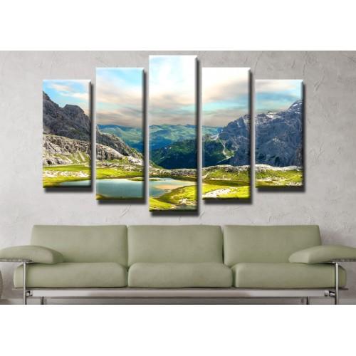 Декоративни панели и картини от канава Модел 13 450 планинско езеро  пет части