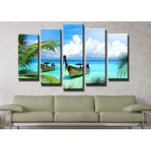 Декоративни панели и картини от канава Модел 13 451 лодки залив палми  пет части