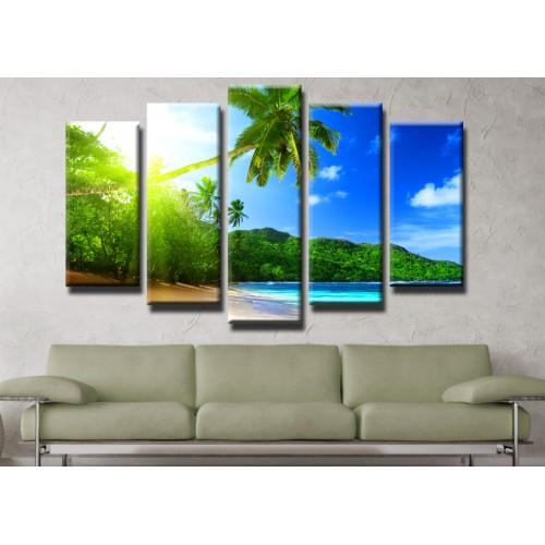 Декоративни панели и картини от канава Модел 13 452 плаж палми  пет части