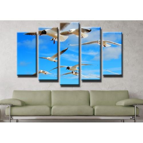 Декоративни панели и картини от канава Модел 13 453 чайки пет части