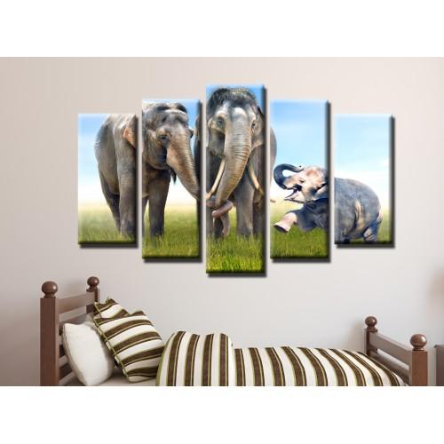 Декоративни панели и картини от канава Модел 13 459 слонове пет части
