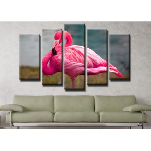 Декоративни панели и картини от канава Модел 13 460 фламинго пет части