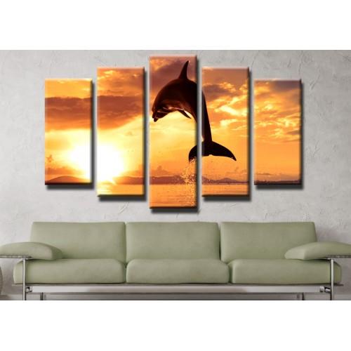 Декоративни панели и картини от канава Модел 13 461 делфин пет части