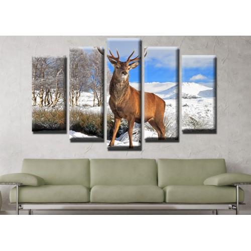 Декоративни панели и картини от канава Модел 13 463 елен пет части