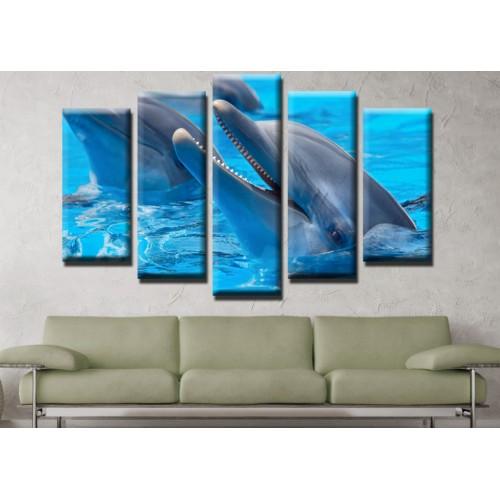 Декоративни панели и картини от канава Модел 13 464 делфини пет части
