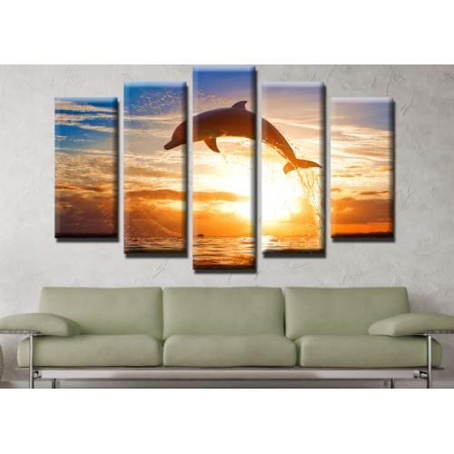 Декоративни панели и картини от канава Модел 13 465 делфин пет части