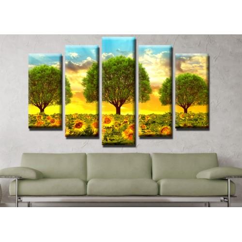 Декоративни панели и картини от канава Модел 13 467 слънчогледи пет части