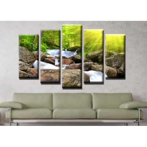 Декоративни панели и картини от канава Модел 13 468 водопад пет части