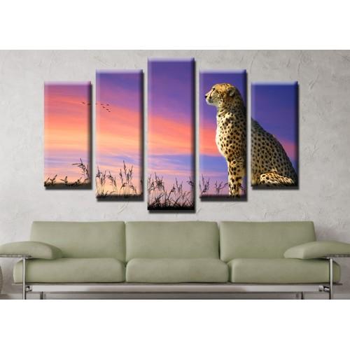 Декоративни панели и картини от канава Модел 13 472 гепард пет части