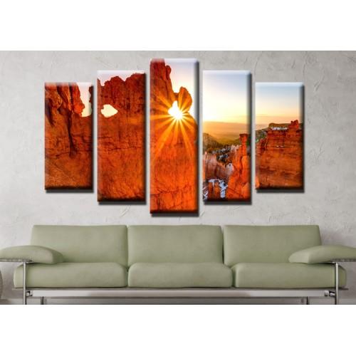 Декоративни панели и картини от канава Модел 13 474 скали изгрев пет части