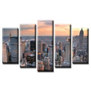 Декоративни панели и картини от канава Модел 13 476 град небостъргачи  пет части