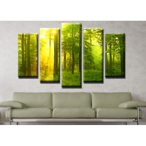 Декоративни панели и картини от канава Модел 13 479 гора  пет части
