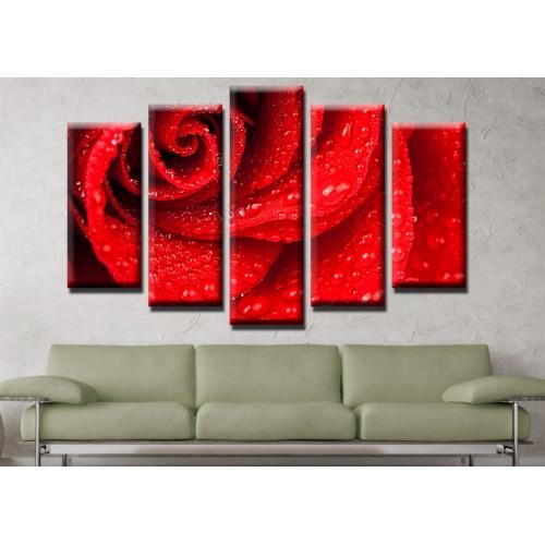 Декоративни панели и картини от канава Модел 13 480 цвят червена роза роса  пет части