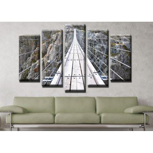 Декоративни панели и картини от канава Модел 13 483 планински въжен мост  пет части