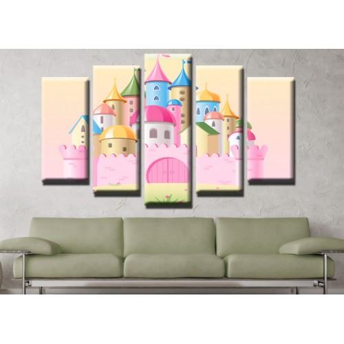Декоративни панели и картини от канава Модел 13 487 замък  пет части