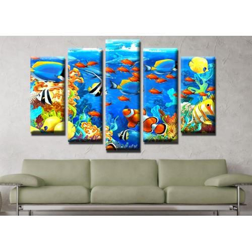 Декоративни панели и картини от канава Модел 13 490 риф корали море  пет части