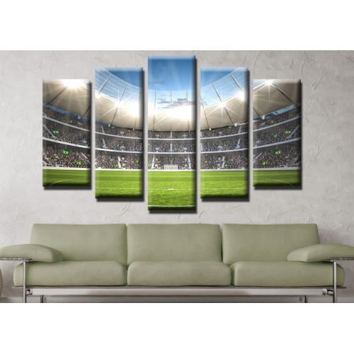 Декоративни панели и картини от канава Модел 13 491 футболно игрище  пет части