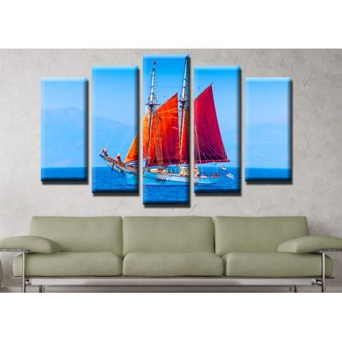 Декоративни панели и картини от канава Модел 13 495 лодка  пет части