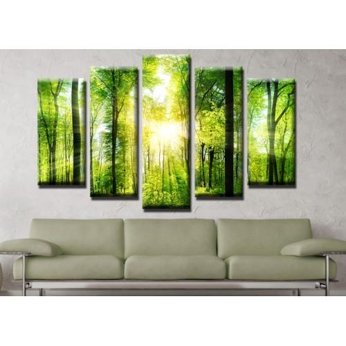 Декоративни панели и картини от канава Модел 13 499 гора  пет части