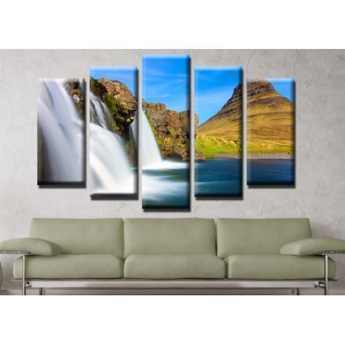 Декоративни панели и картини от канава Модел 13 500 водопад  пет части