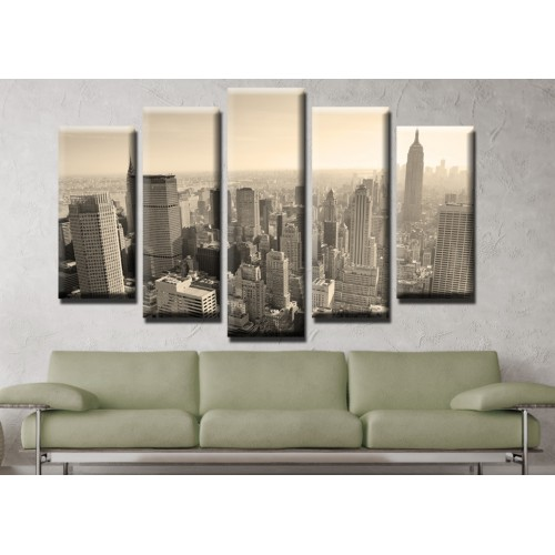 Декоративни панели и картини от канава Модел 13 501 град пет части