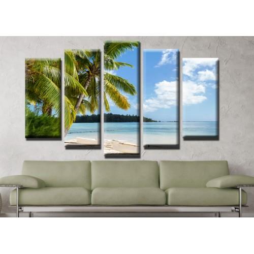 Декоративни панели и картини от канава Модел 13 504 палми плаж пет части