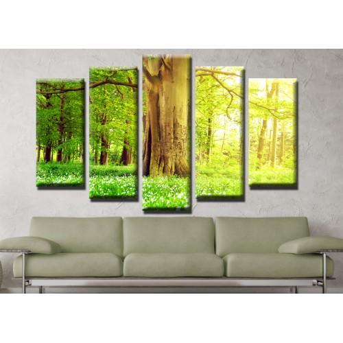 Декоративни панели и картини от канава Модел 13 505 гора  пет части
