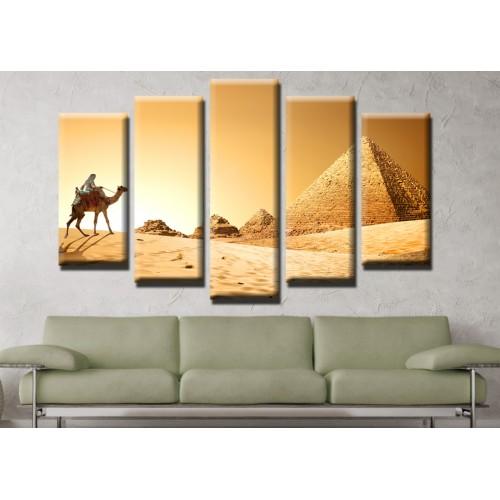 Декоративни панели и картини от канава Модел 13 507 египет пирамиди камили  пет части