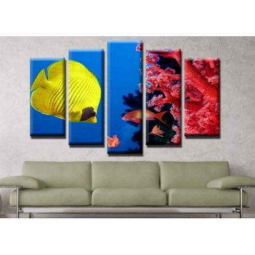 Декоративни панели и картини от канава Модел 13 508 рибки корали океан  пет части