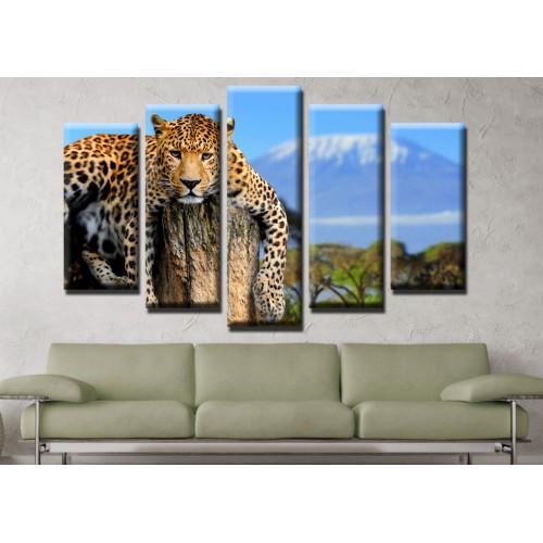 Декоративни панели и картини от канава Модел 13 510 леопард пет части