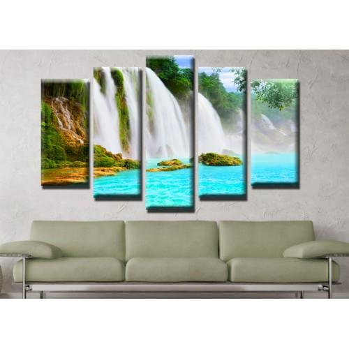 Декоративни панели и картини от канава Модел 13 512 водопад  пет части