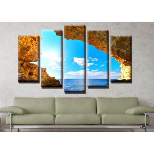 Декоративни панели и картини от канава Модел 13 513 скали море  пет части