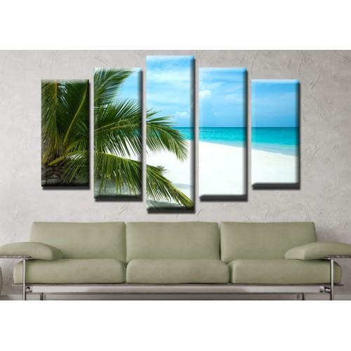 Декоративни панели и картини от канава Модел 13 514 палми плаж пет части