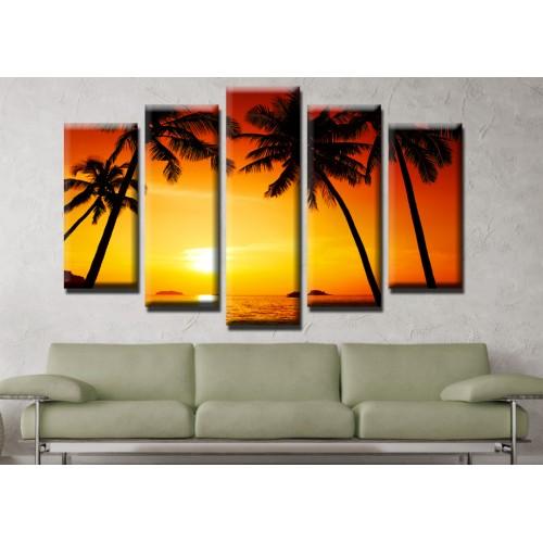 Декоративни панели и картини от канава Модел 13 515 палми плаж залез пет части