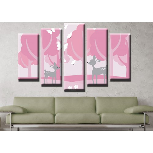 Декоративни панели и картини от канава Модел 13 518 сърнички в горичка  пет части
