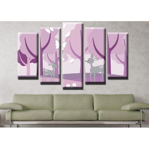 Декоративни панели и картини от канава Модел 13 519 сърнички в горичка  пет части