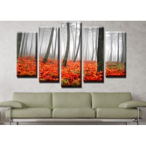Декоративни панели и картини от канава Модел 13 522 гора  пет части