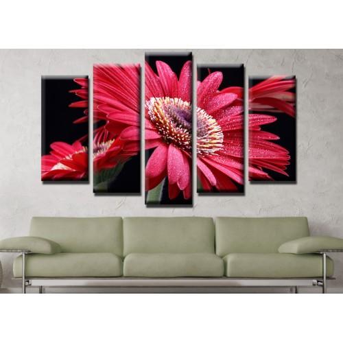 Декоративни панели и картини от канава Модел 13 523 цвете пет части