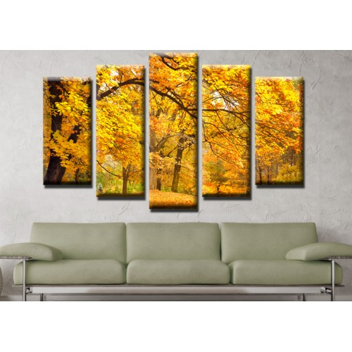 Декоративни панели и картини от канава Модел 13 524 есен в гората  пет части